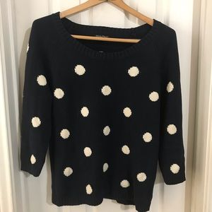 LUCKY BRAND BLUE WHITE DOT SWEATER SZ MEDIUM